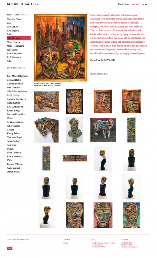 Allouche Gallery artist gallery page